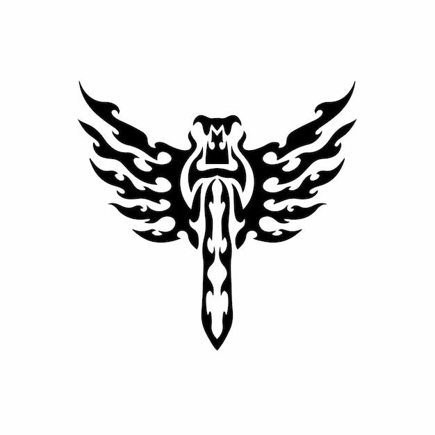 Épée tribale avec des ailes logo tattoo design stencil vector illustration