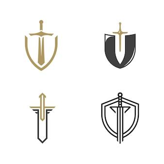 Épées de chevalier isolés sur fond blanc. silhouettes d'épées. illustration vectorielle