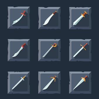 Épées couteaux dagues lames tranchantes arme jeu d'icônes isolé