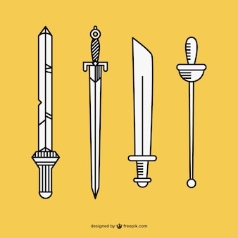 Épées dessinés à la main vecteur