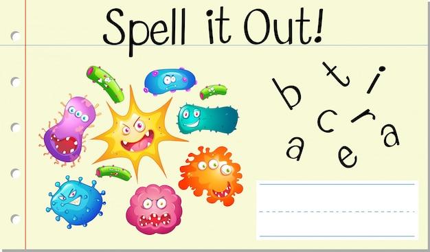 Épeler le mot anglais bactéries
