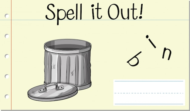 Épeler le mot anglais bin