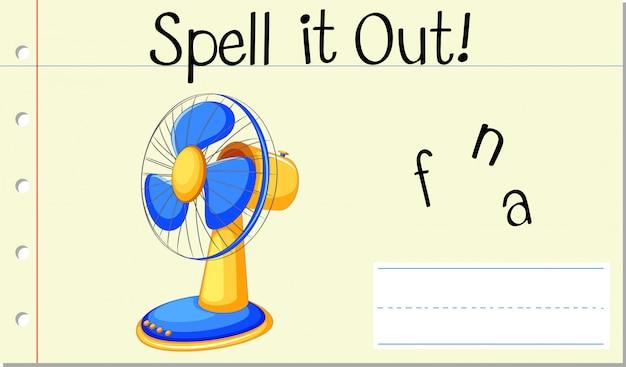 Épeler le mot anglais fan