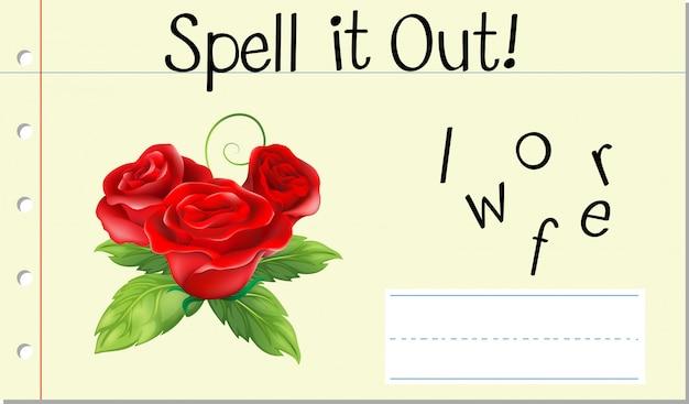 Épeler le mot anglais fleur