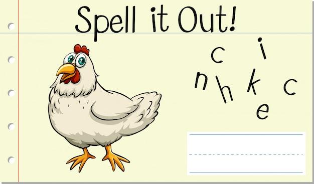Épeler le mot anglais poulet