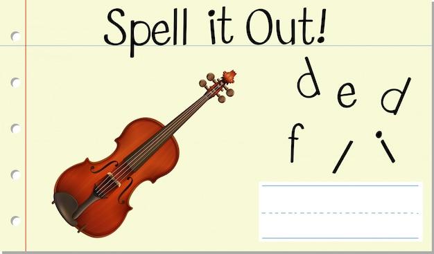 Épeler le mot anglais violon
