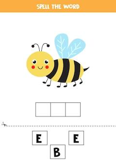Épelez le mot abeille. illustration d'abeille mignonne. jeu d'orthographe pour les enfants.