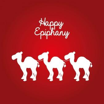 Ephipany heureux au cours de l'illustration vectorielle fond rouge