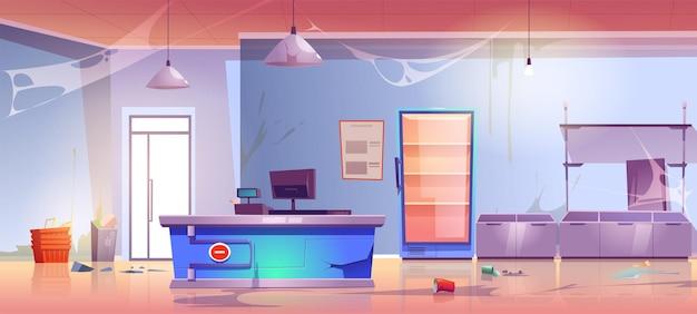 Épicerie abandonnée avec bureau de caisse fissuré, déchets de dispersion, toile d'araignée, étagères cassées et réfrigérateur