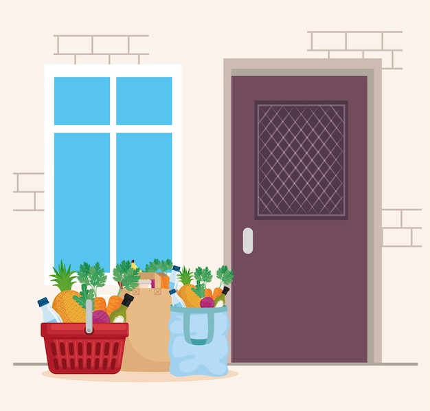 Épicerie à l'intérieur du panier et des sacs