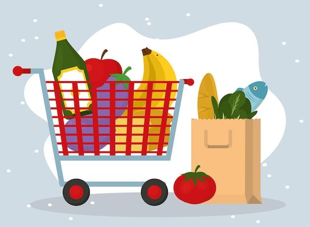 Épicerie et sac avec jeu d'icônes de nourriture