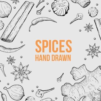 Épices biologiques contour fond dessinée à la main