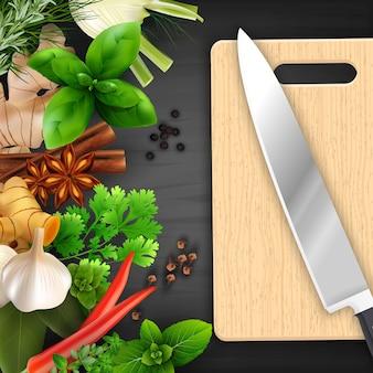 Épices et herbes avec planche à découper et couteau