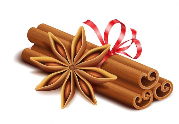 Épices réalistes, bâtons de cannelle et étoile d'anis isolés