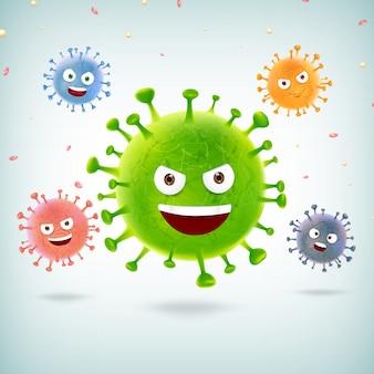 Épidémie de coronavirus cartoon émoticône covid-19