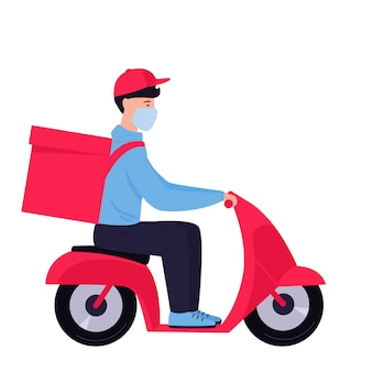 Épidémie de coronavirus. livraison gratuite. l'homme dans un masque de protection transporte de la nourriture sur une moto.