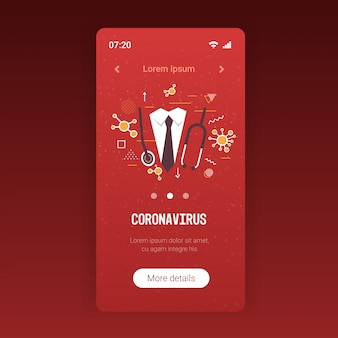 Épidémie de coronavirus médecin avec stéthoscope chine pathogène quarantaine respiratoire pandémie concept de risque médical santé écran smartphone application mobile