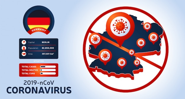 Épidémie de coronavirus à wuhan, en chine. méfiez-vous des nouvelles flambées de coronavirus en allemagne. propagation du nouveau fond de coronavirus.