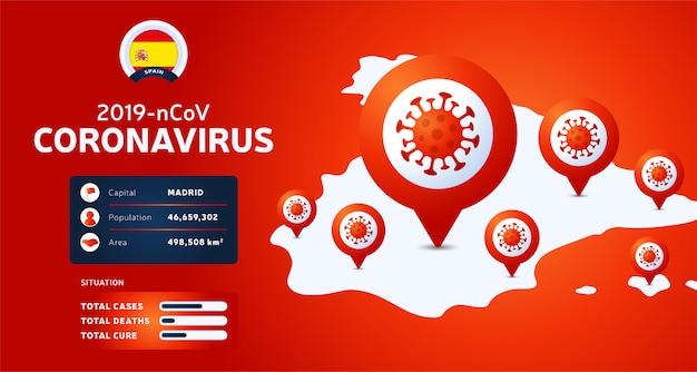 Épidémie de coronavirus à wuhan, en chine. méfiez-vous des nouvelles flambées de coronavirus en espagne. propagation du nouveau fond de coronavirus.