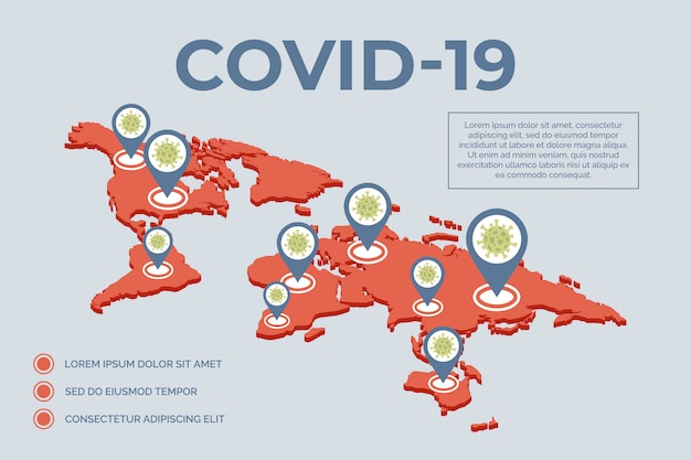 Épidémie de covid-19 répartie sur l'illustration plate du monde. concept de pandémie mondiale avec typographie.