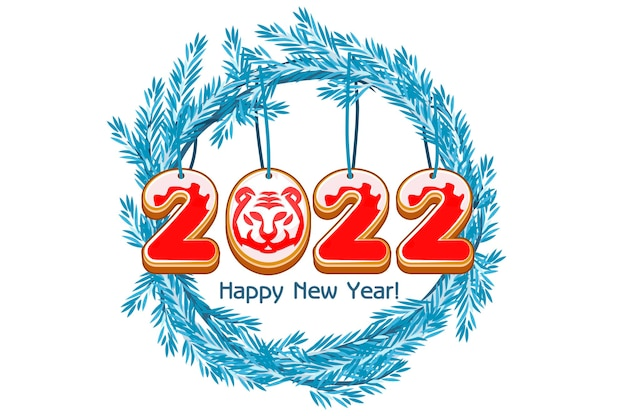 Épinette de couronne bleue de bande dessinée happy new year, tigre de 2022 ans de biscuit