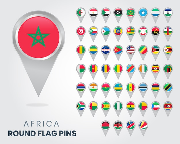 Épingles à drapeau rondes afrique