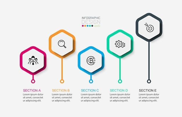 Épingles hexagonales conception infographique moderne