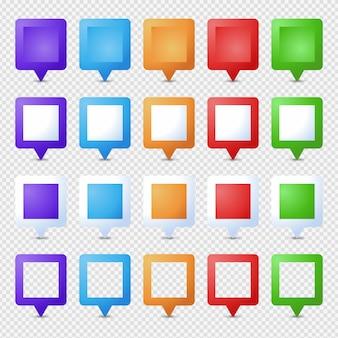 Épingles square location. marqueur 3d. jeu de broches de pointeur de carte isolé. point de localisation web, pointeur flèche 3d