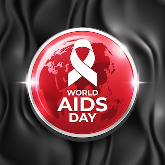 Épinglette de la journée mondiale du sida sur soie noire
