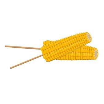 Les épis de maïs sur un bâton récoltent en été et en automne de délicieux aliments préparés source de vitamines préparation rapide...