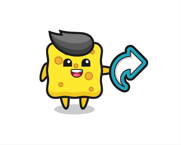 Une éponge mignonne tient un symbole de partage de médias sociaux, un design de style mignon pour un t-shirt, un autocollant, un élément de logo