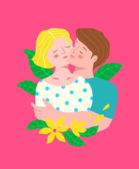 Épouse et mari ou jeune couple romantique se tenant, embrassant joue contre joue avec des fleurs colorées.
