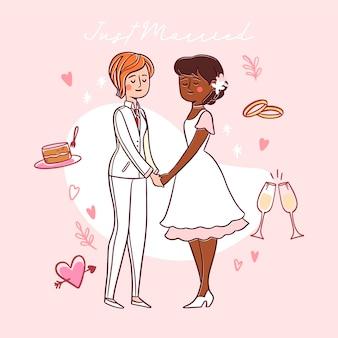 Épouses de mariage dessinés à la main