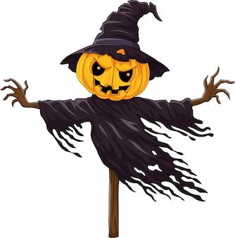 Épouvantail de citrouille d'halloween effrayant de dessin animé
