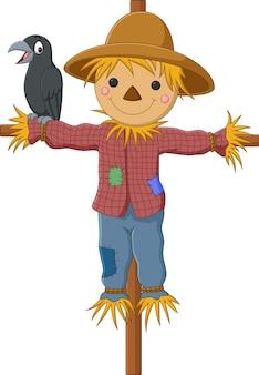 Épouvantail drôle de dessin animé avec oiseau corbeau