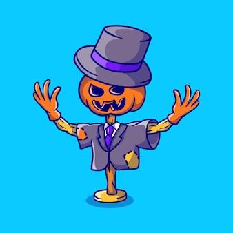 Épouvantail d'halloween à tête de citrouille mignon portant un costume