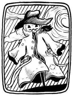 Épouvantail en manteau et chapeau avec corbeau sur son épaule. illustration graphique dessinée à la main d'halloween dans le style de croquis. illustration vectorielle de style rétro. pour affiche, impression, carte postale.