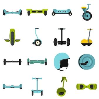 Équilibrage des icônes de scooter situé dans un style plat