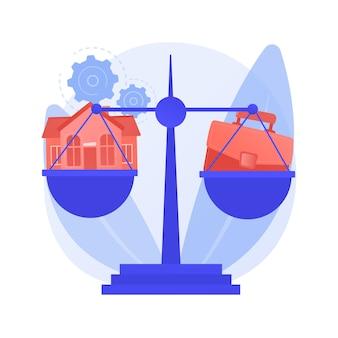 Équilibrage travail et famille illustration vectorielle concept abstrait. équilibre entre le travail et la vie personnelle, famille heureuse, papa de maman d'affaires à la maison, enfants au bureau, gestion du temps, métaphore abstraite indépendante.