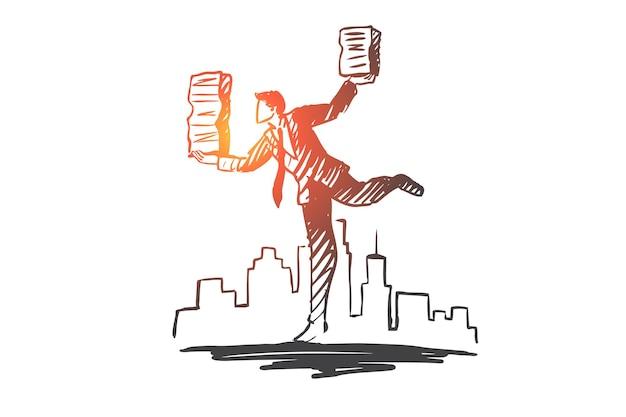 Équilibre des affaires, homme d'affaires, gestion, concept de carrière. homme d'affaires dessiné à la main en équilibre avec beaucoup d'esquisse de concept de travail.