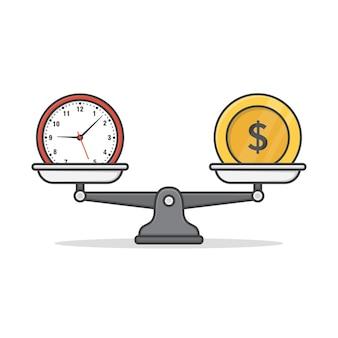 Équilibre entre l'illustration d'icône argent et temps. icône plate de temps ou d & # 39; argent