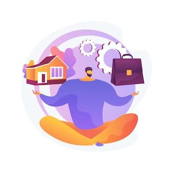 Équilibrer le travail et l'illustration de concept abstrait de famille. équilibre travail et vie privée, famille heureuse, papa maman d'affaires à la maison, enfants au bureau, gestion du temps, pigiste