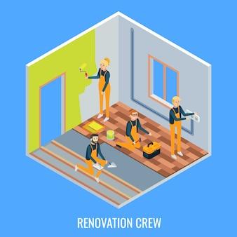 Équipage de rénovation plat isométrique