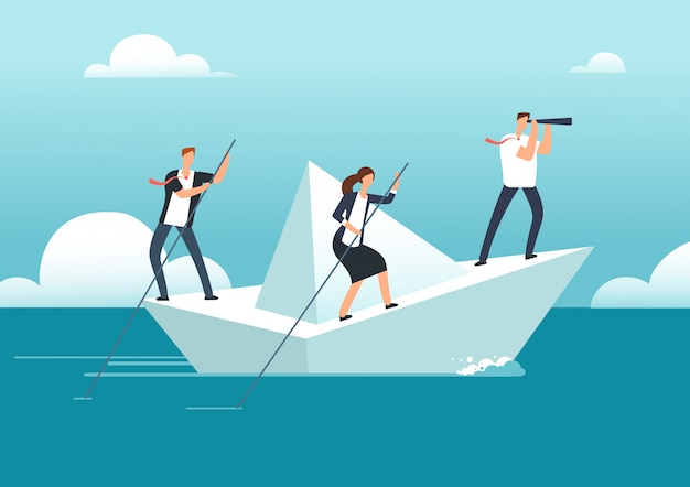 Équipe des activités avec le chef naviguant sur un bateau en papier dans un océan d'opportunités à atteindre.