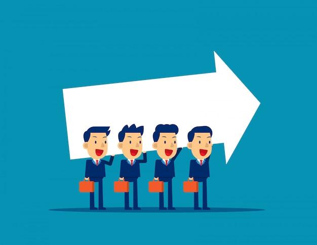 Équipe des activités portant le signe de la flèche, travail d'équipe, coopération.