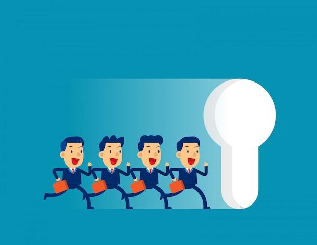 Équipe des affaires en cours d'exécution à grande trou de serrure
