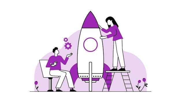 Équipe d'affaires rassemblant des partenaires de dessin animé d'illustration de vecteur plat isolé de puzzle