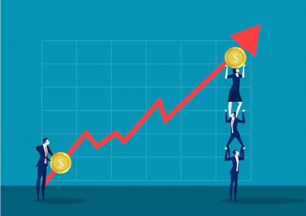 Une équipe d'affaires se tenant debout sur des barres tenant des finances sous-secteur croissance du marketing en croissance