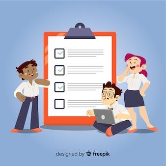équipe analysant l'illustration de la liste de contrôle