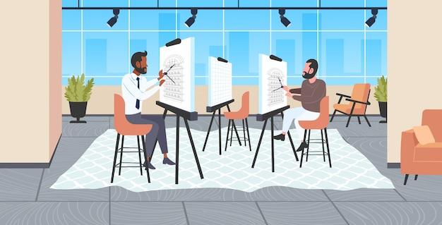 Équipe d'architectes à l'aide d'un mélange de boussoles ingénieurs de course projet de maison de rédaction sur une planche à dessin réglable entrepreneurs de logement ing plan de maison dessinateur moderne studio intérieur horizontal pleine longueur
